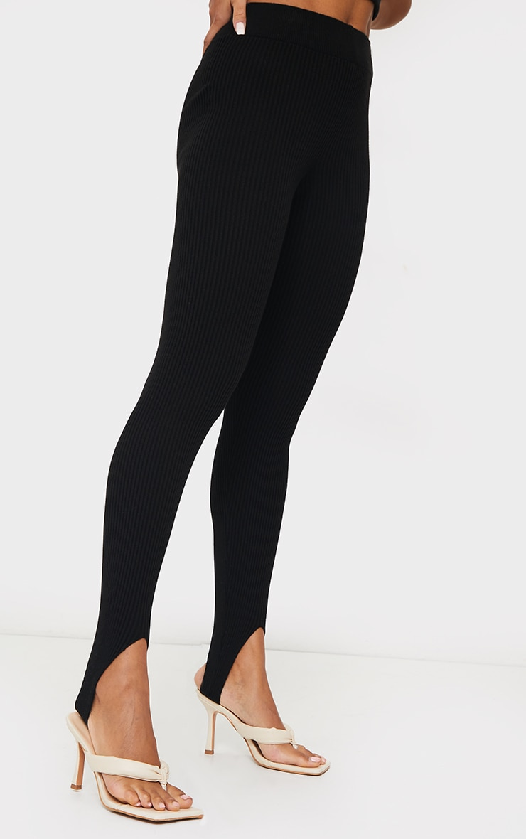 Black Stirrup Ribbed Knitted Leggings 4