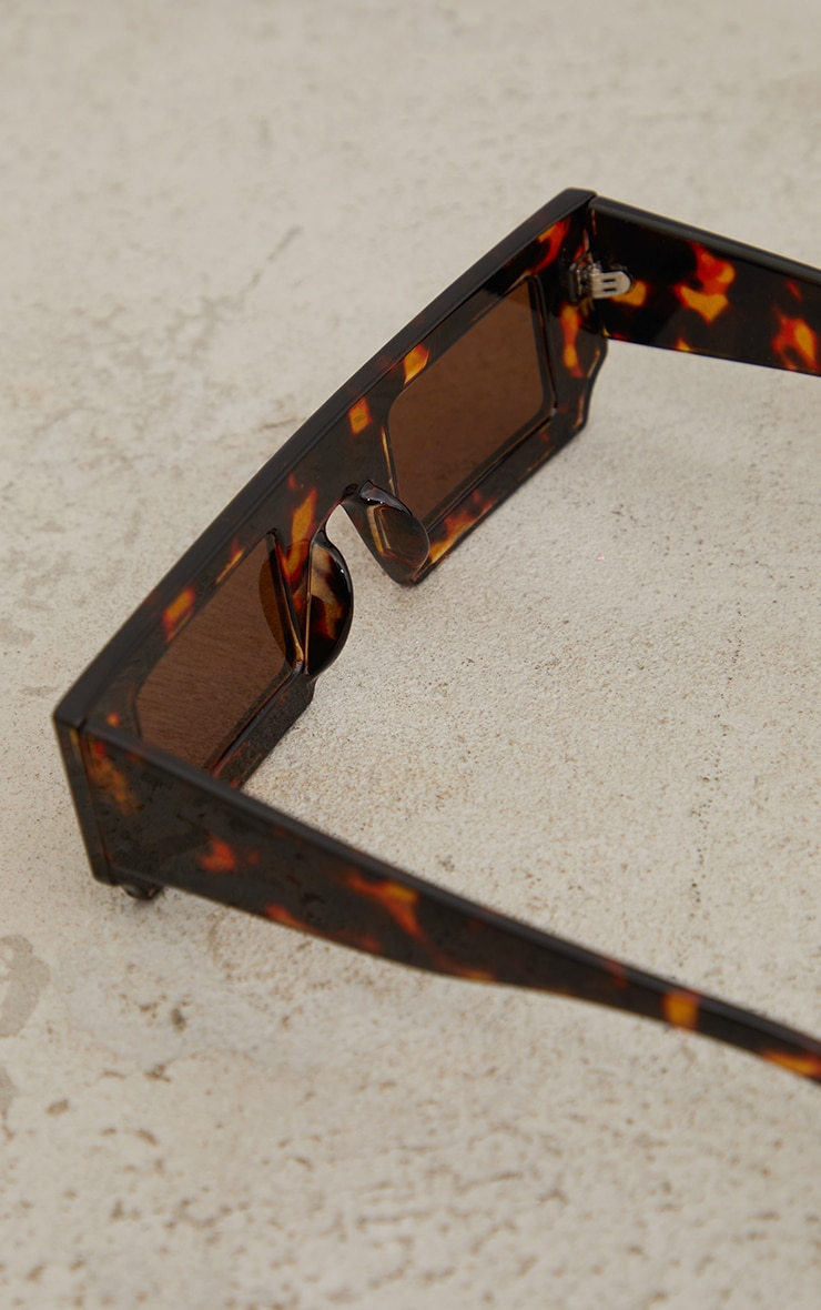 Brown Chunky Two Tone Marble Squareframe Sunglasses 3
