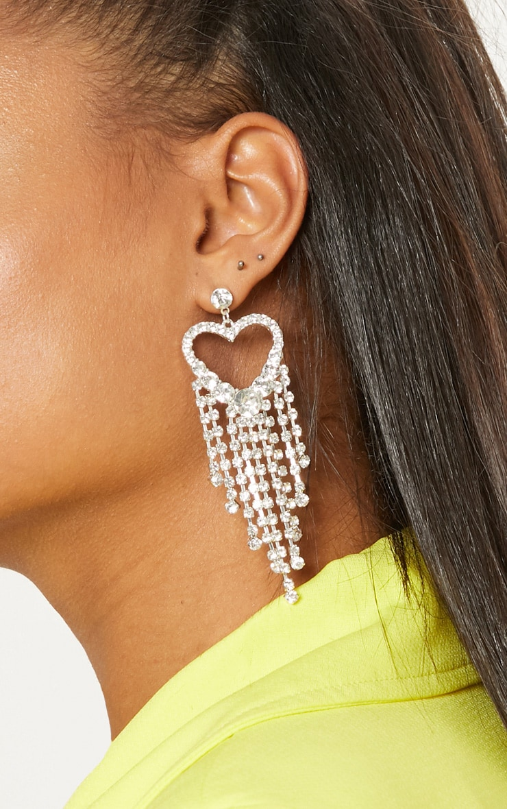Silver Diamante Heart Earrings 2