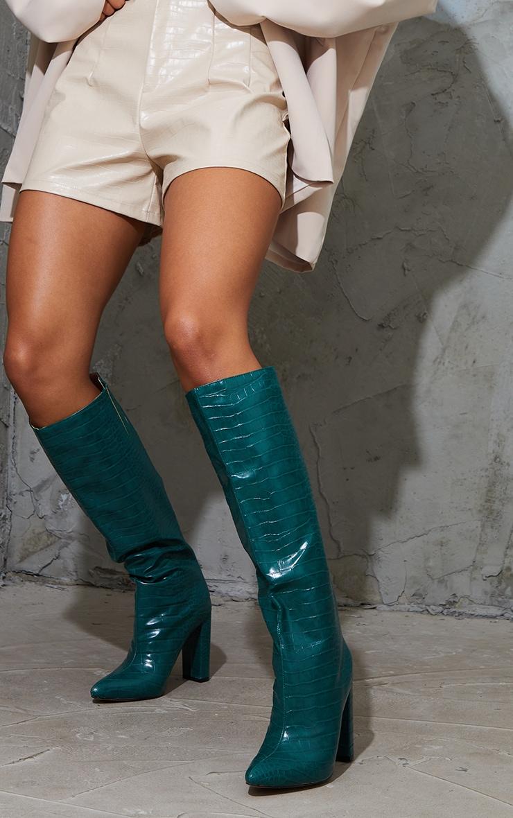 Khaki Knee High Point Block Heel Boot 2