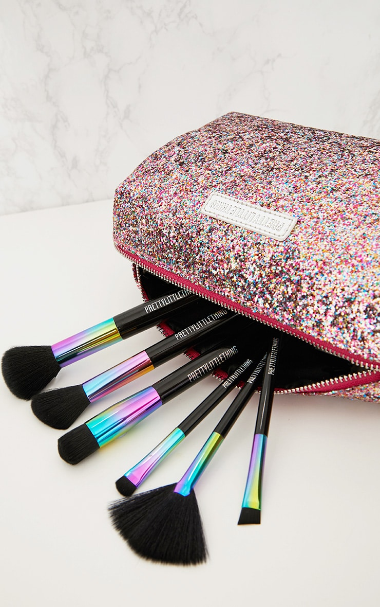PRETTYLITTLETHING Multi Coloured Glitter Make Up Bag 1