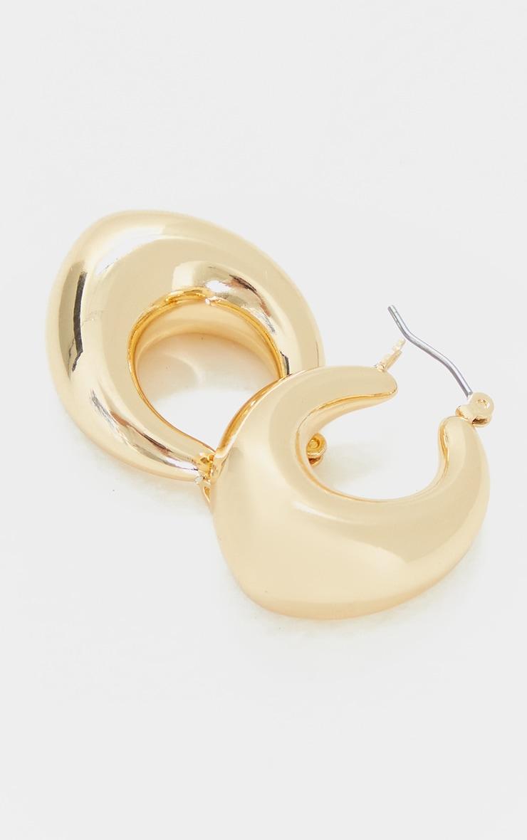 Gold Oval Chunky Hoop Earrings 2
