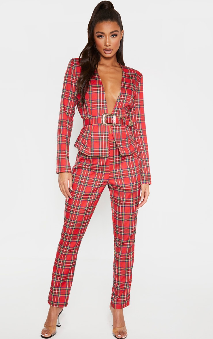 Pantalon cigarette rouge imprimé tartan taille haute à détail ceinture boucle 1