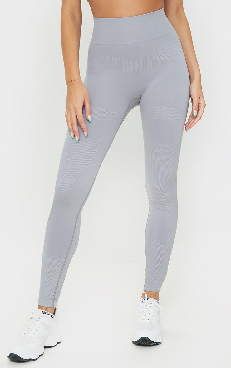 Slate Rib Detail Seamless Gym Leggings 2