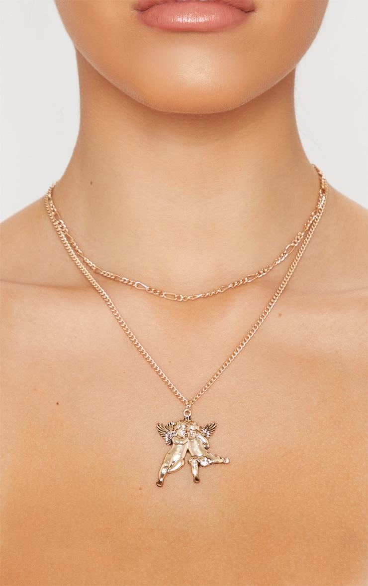 Gold Layered Chain Cherub Necklace