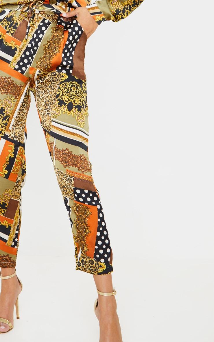 Khaki Chain Print Cigarette Trouser 5