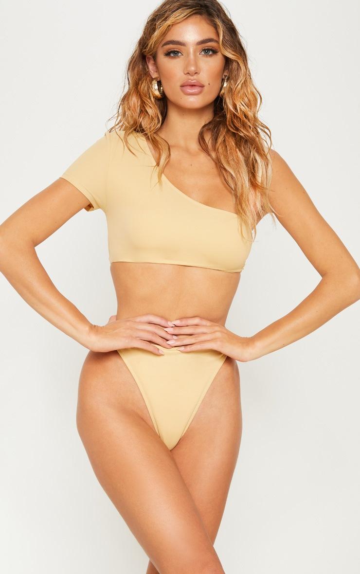 Nude One Shoulder Sleeve Bikini Top by Prettylittlething