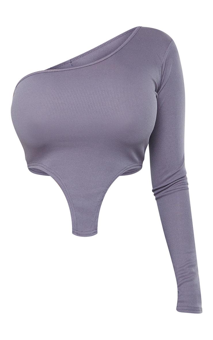 Shape Grey Rib One Shoulder Curved Hem Detail Crop Top 5