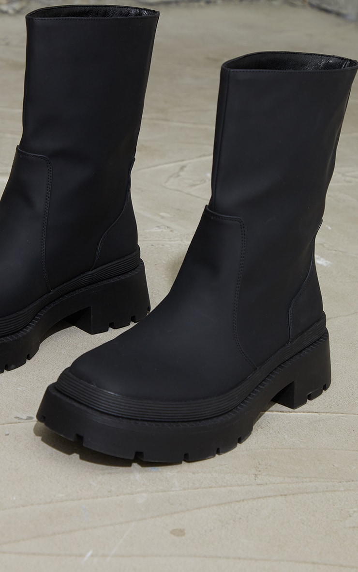 Black Ankle Rubberised Boots 3