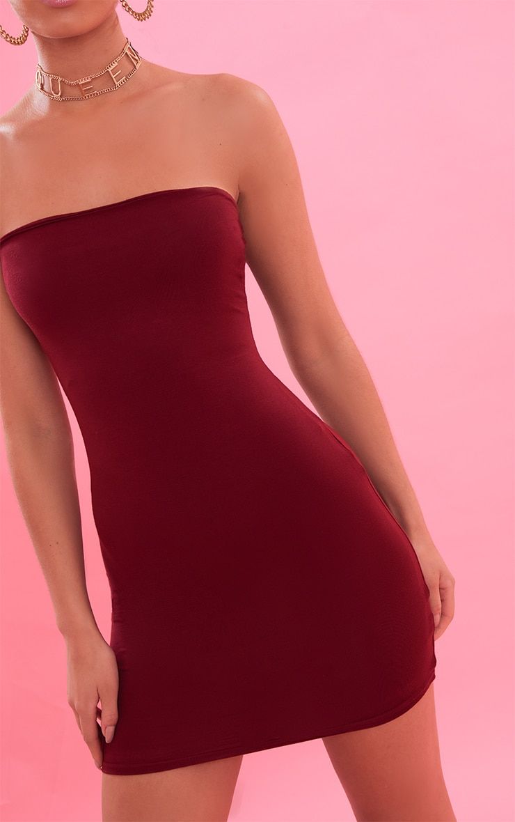 Burgundy Bandeau Bodycon Dress 6