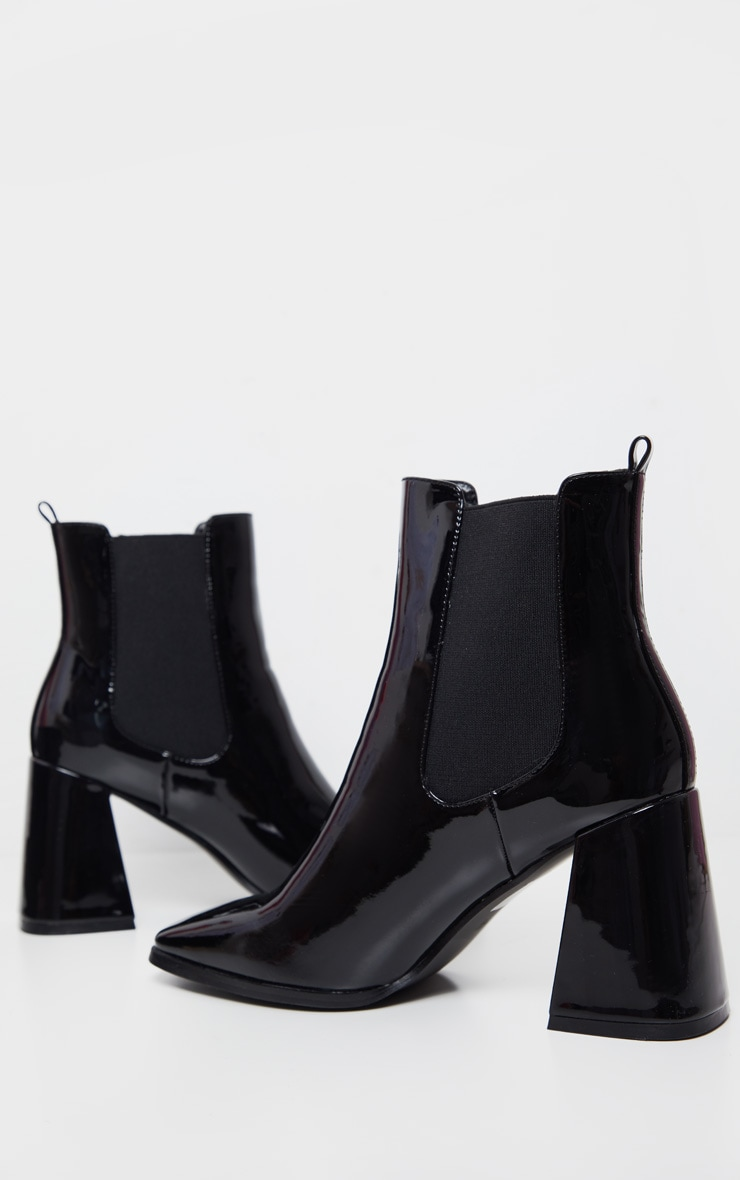 Black Block Heel Square Toe Ankle Boot 4