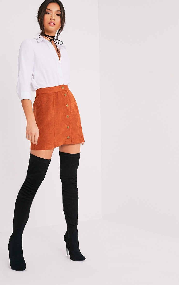 Carmelita Rust Suede Button Front Skirt 6