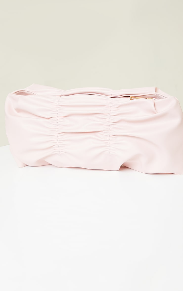Light Pink Pleated Front Oversized Clutch Bag 2