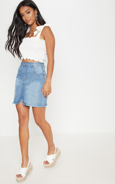 4d75d49792c Petite Mid Wash Denim Skirt PrettyLittleThing Sticker