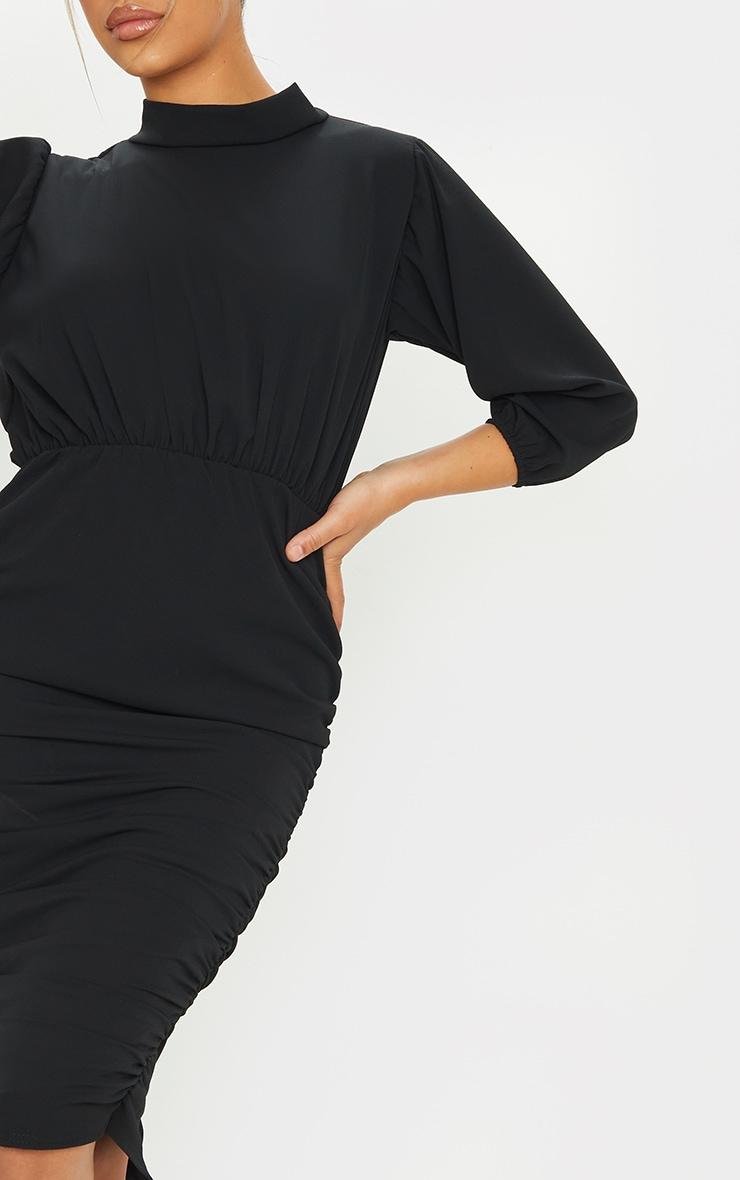 Black Chiffon High Neck Ruched Midi Dress 4