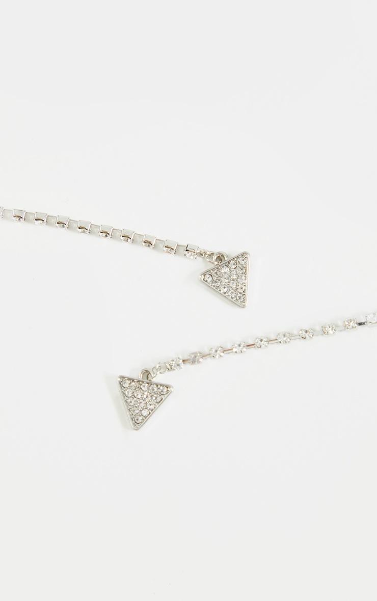 Silver Diamante Drop Triangle Earrings 3