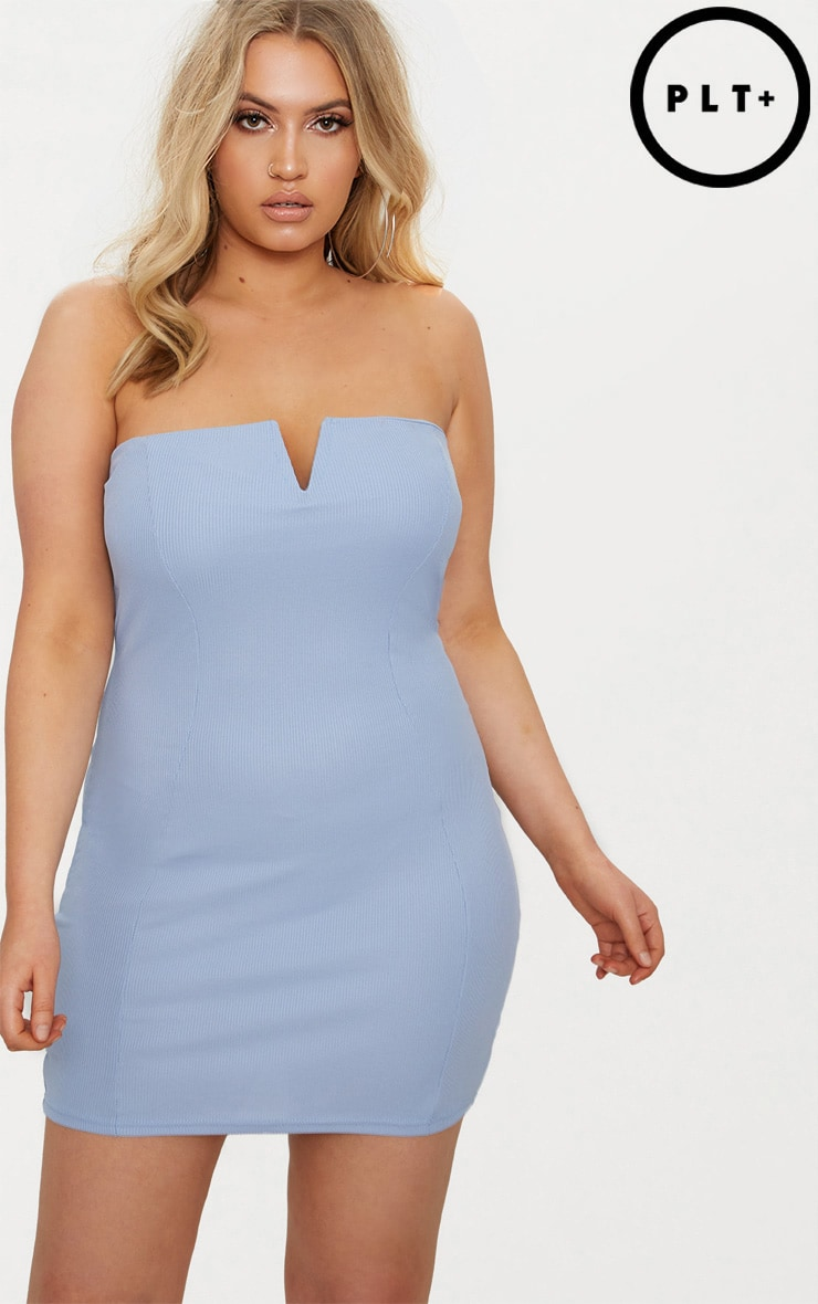 Big Discount Online Outlet Deals Plus Black Second Skin Ribbed Bandeau Bodycon Dress Pretty Little Thing IKoY2Qu