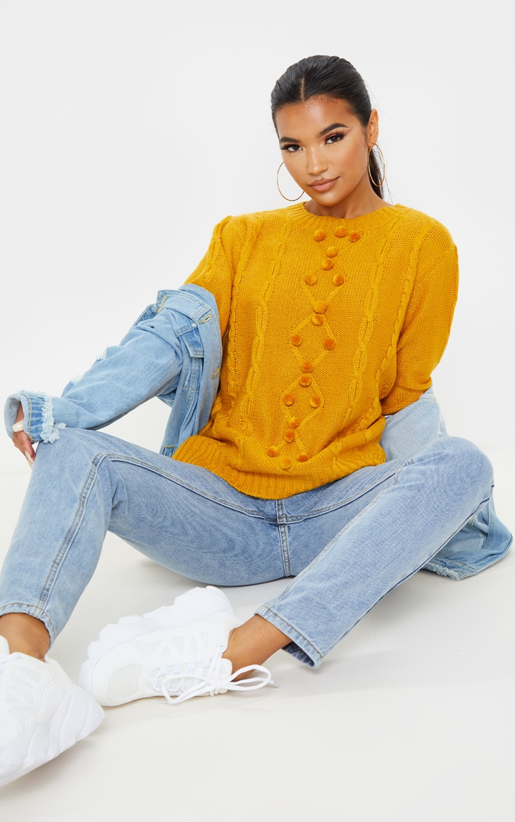 Mustard Pom Pom Detail Cable Knitted Jumper 1
