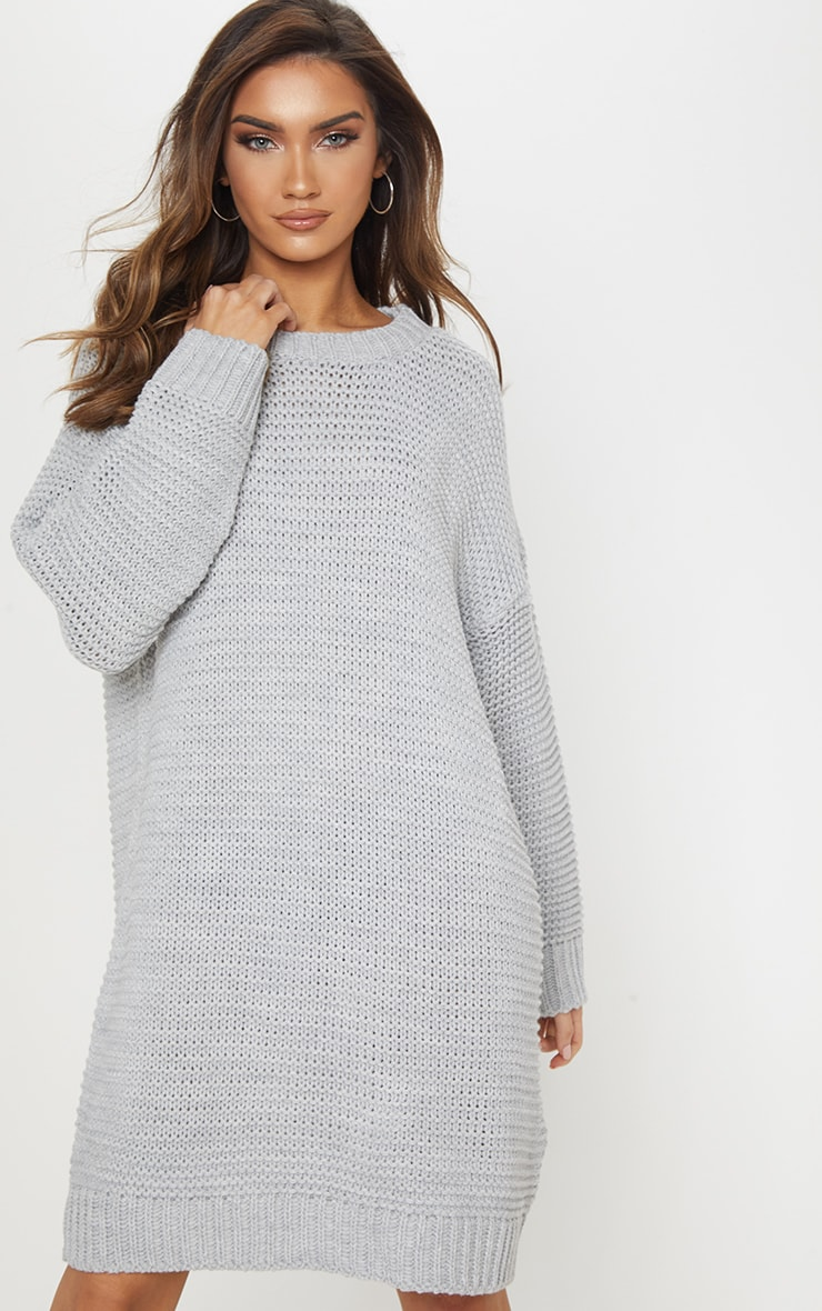 Grey Chunky Knitted Jumper Dress 4