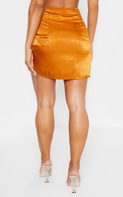 Rust Satin Wrap Tie Detail Mini Skirt