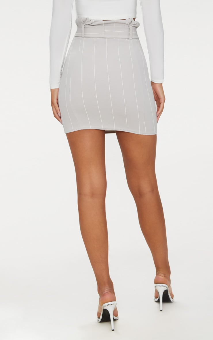 Grey Pinstripe Tie Waist Mini Skirt 4