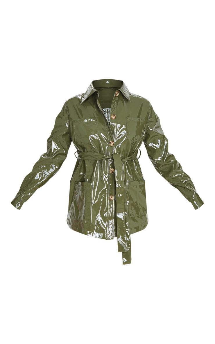 Olive Khaki Vinyl Belted Oversized Jacket 3