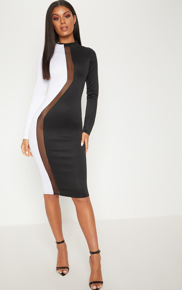 Monochrome Scuba Colour Block Mesh Insert Bodycon Dress 1