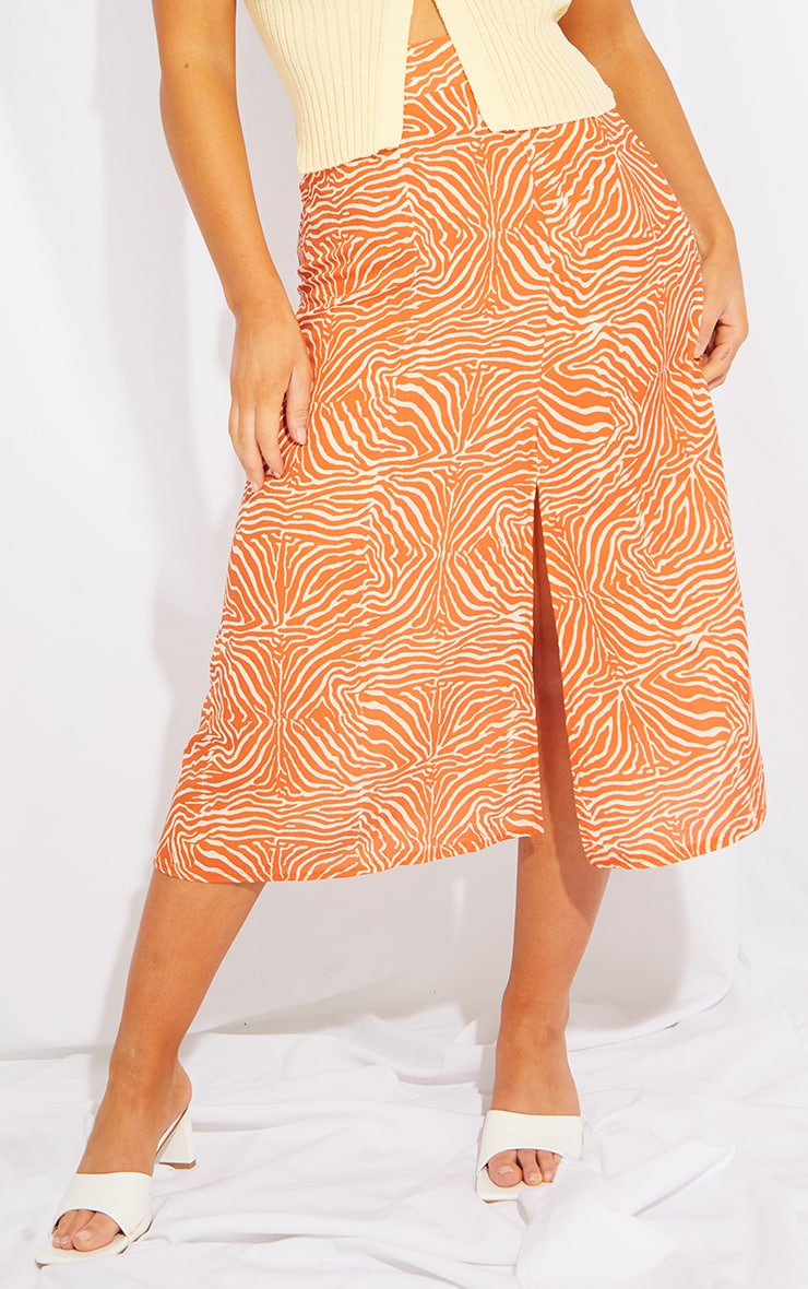 Orange Zebra Floaty Midi Skirt 2