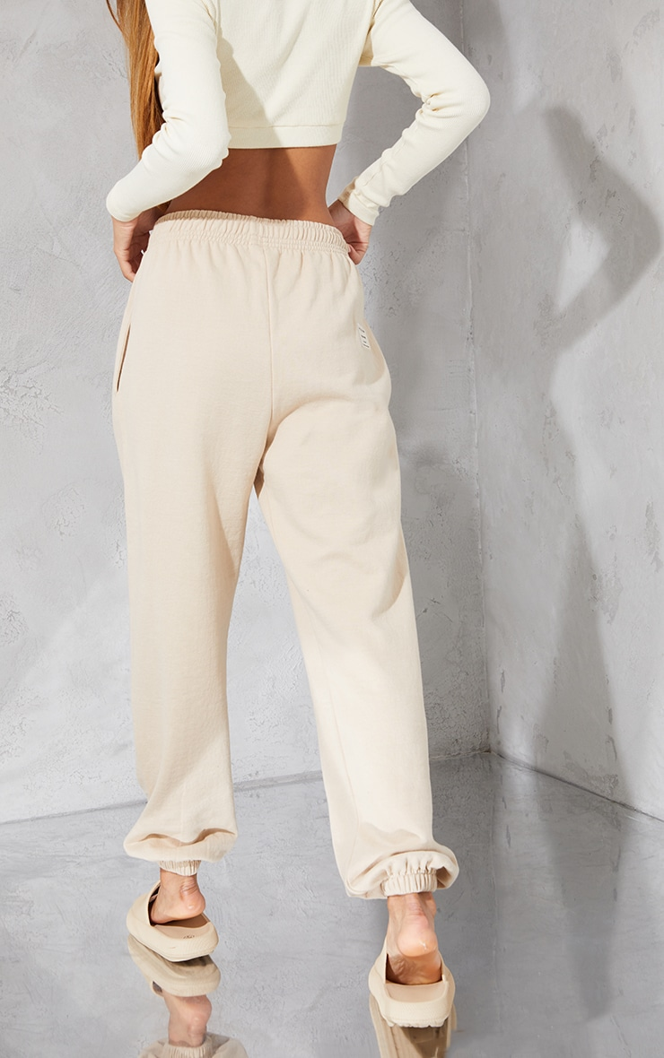 PRETTYLITTLETHING Taupe Branded Apparel Joggers 3