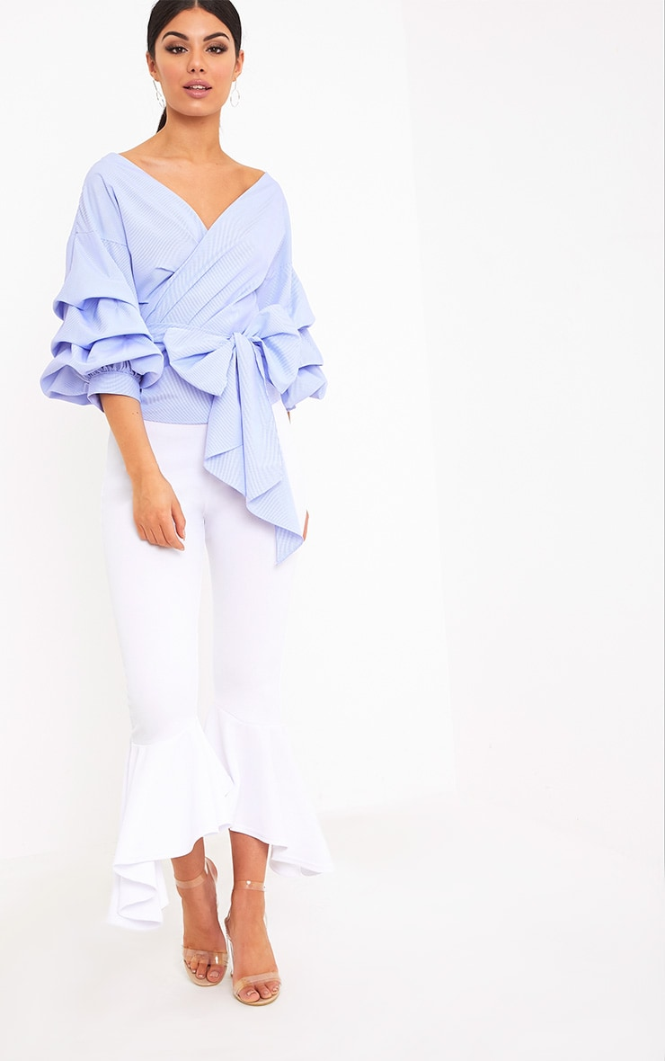 Marlow Blue Check Oversized Ruffle Sleeve Low Shoulder Shirt 4