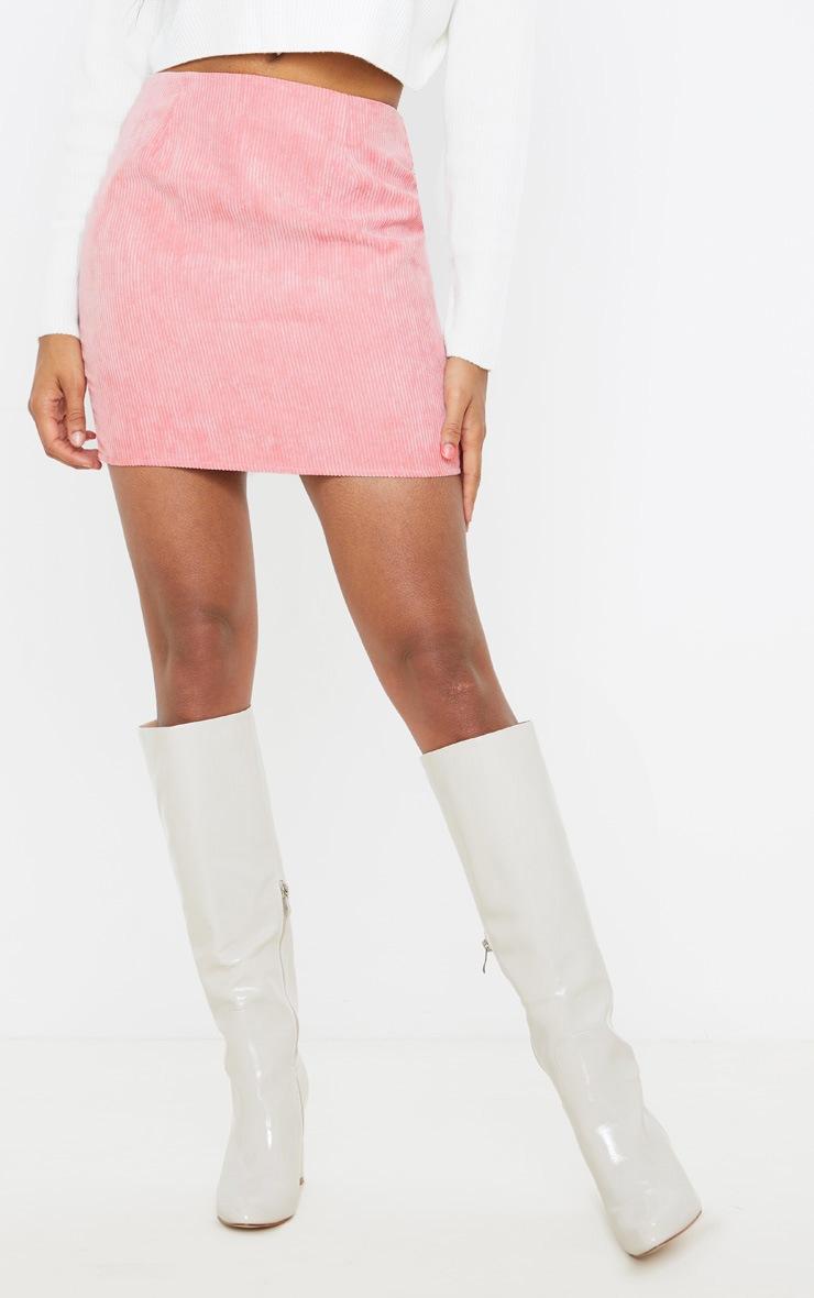 Pink Cord Mini Skirt 2