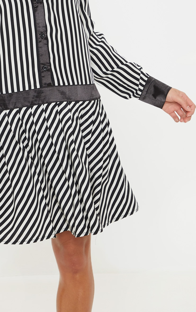 Petite Monochrome Drop Hem Mixed Stripe Print Shirt Dress 5