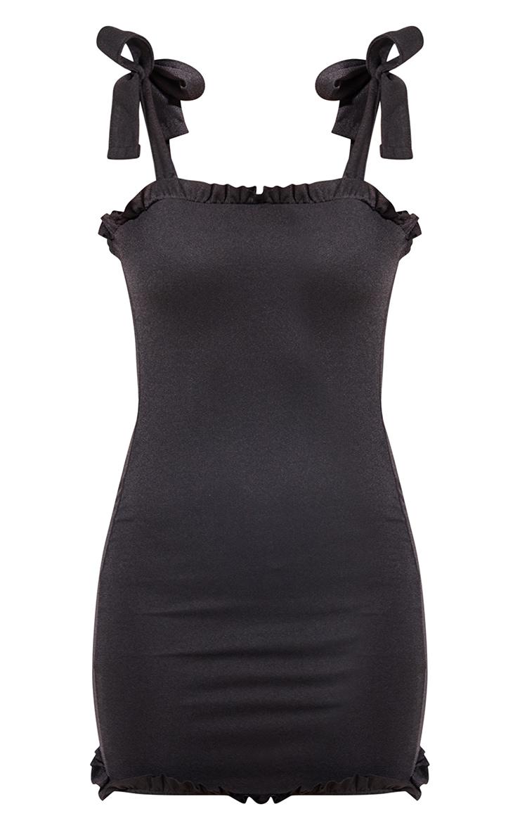 Black Frill Tie Shoulder Bodycon Dress 6