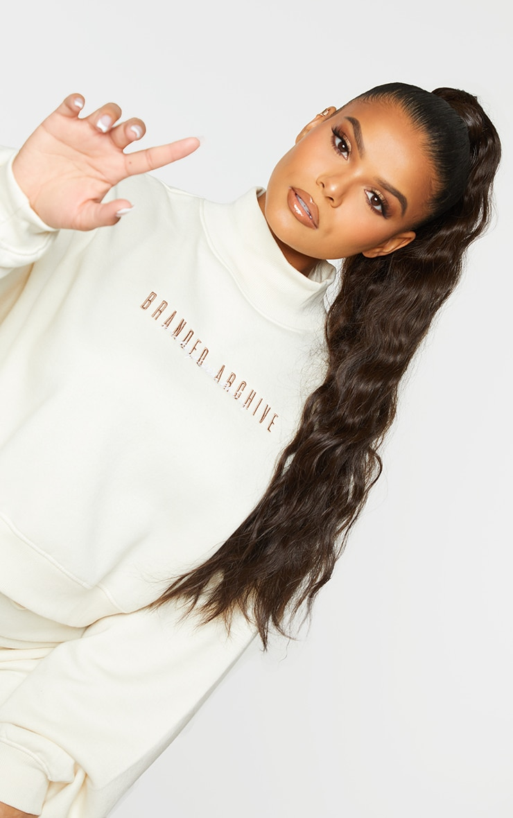 Plus Oatmeal  High Neck Crop Sweater 5