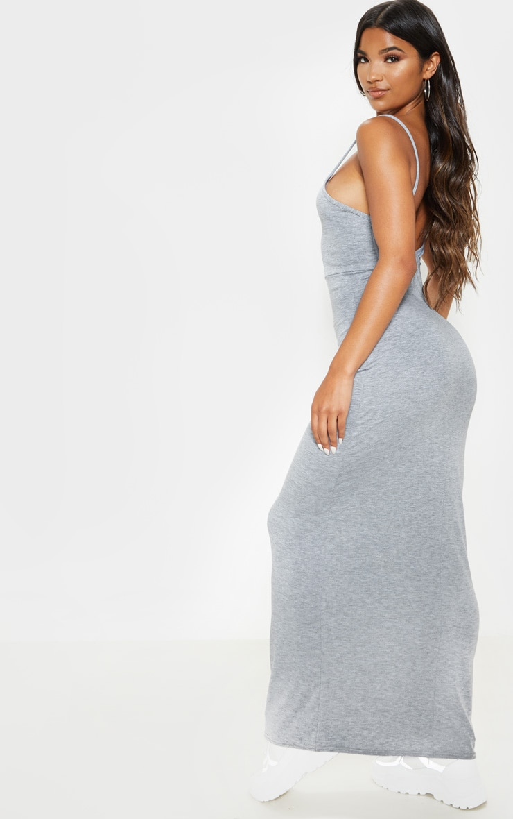 Grey Jersey Scoop Strappy Maxi Dress 2