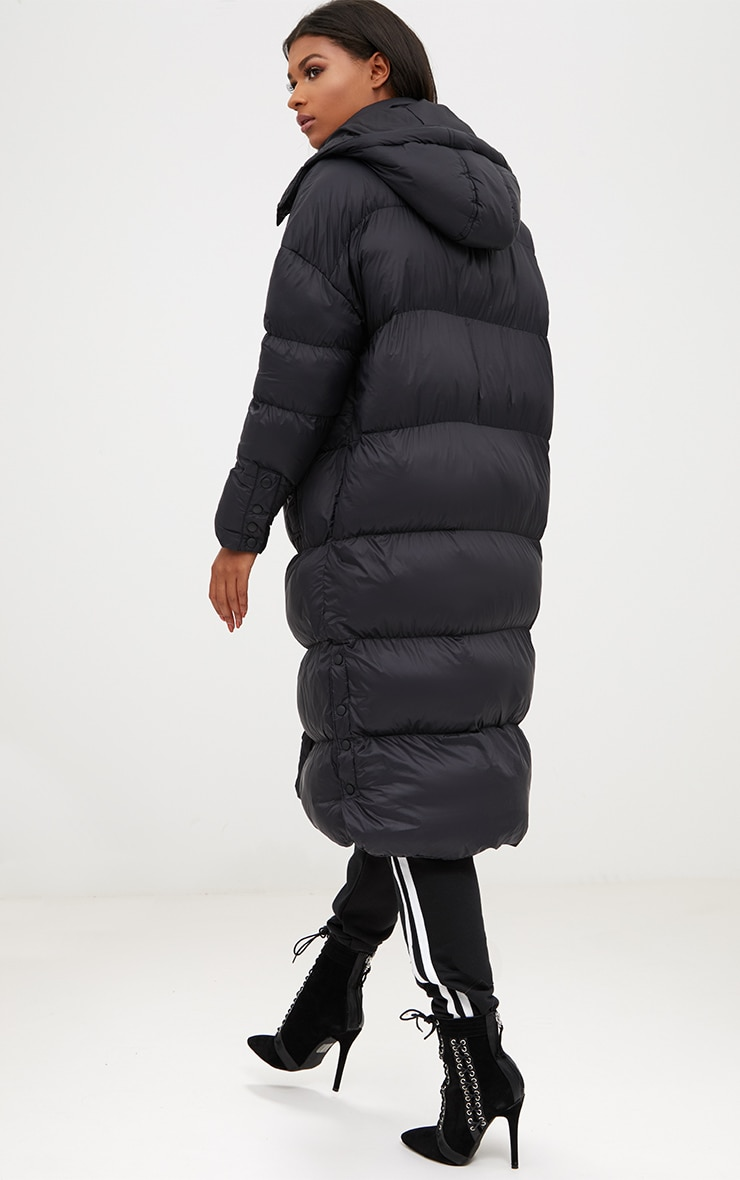 Black Oversized Longline Puffer Jacket with Hood 2