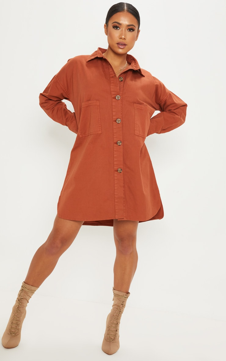 Petite Rust Tortoise Button Oversized Denim Shirt Dress 4