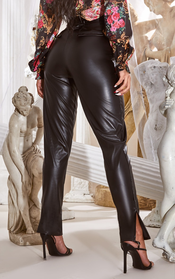 Black Faux Leather Split Hem Skinny Pants 3