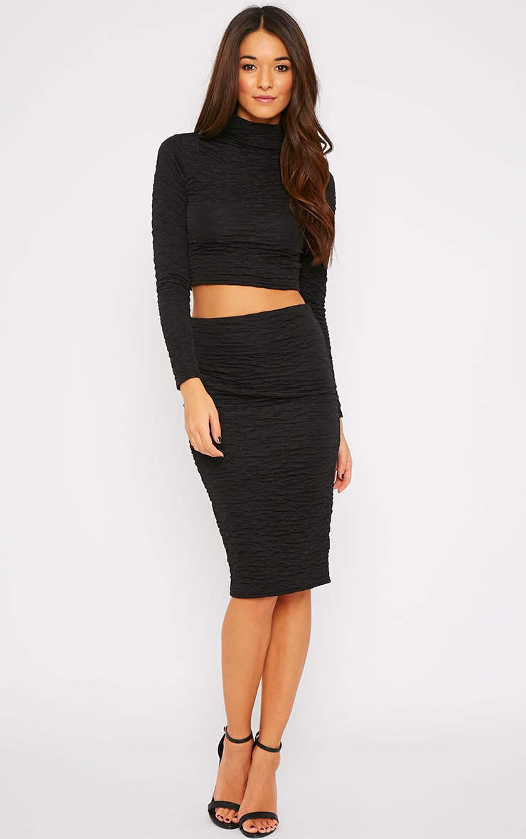 Lilly Black Crinkle Midi Skirt 4