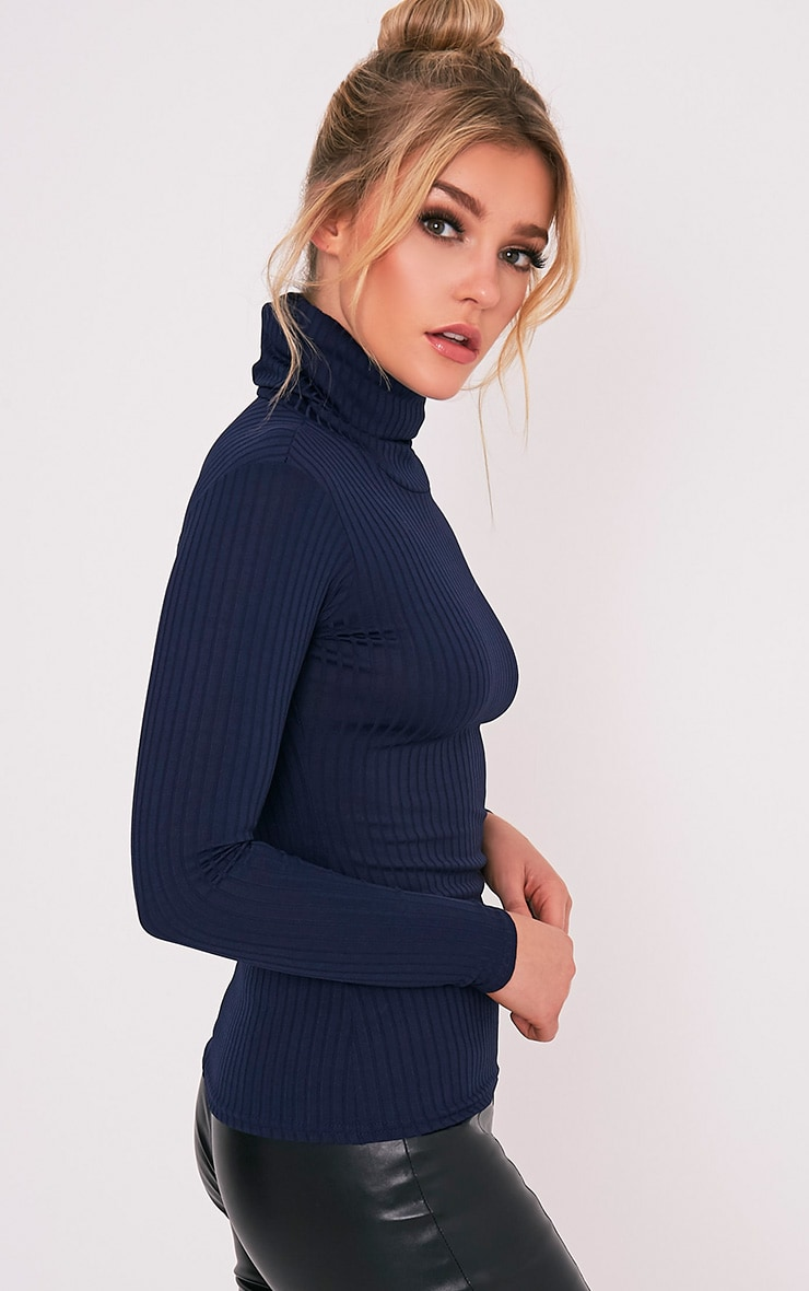 Rheta Navy Ribbed Polo Neck Top 5