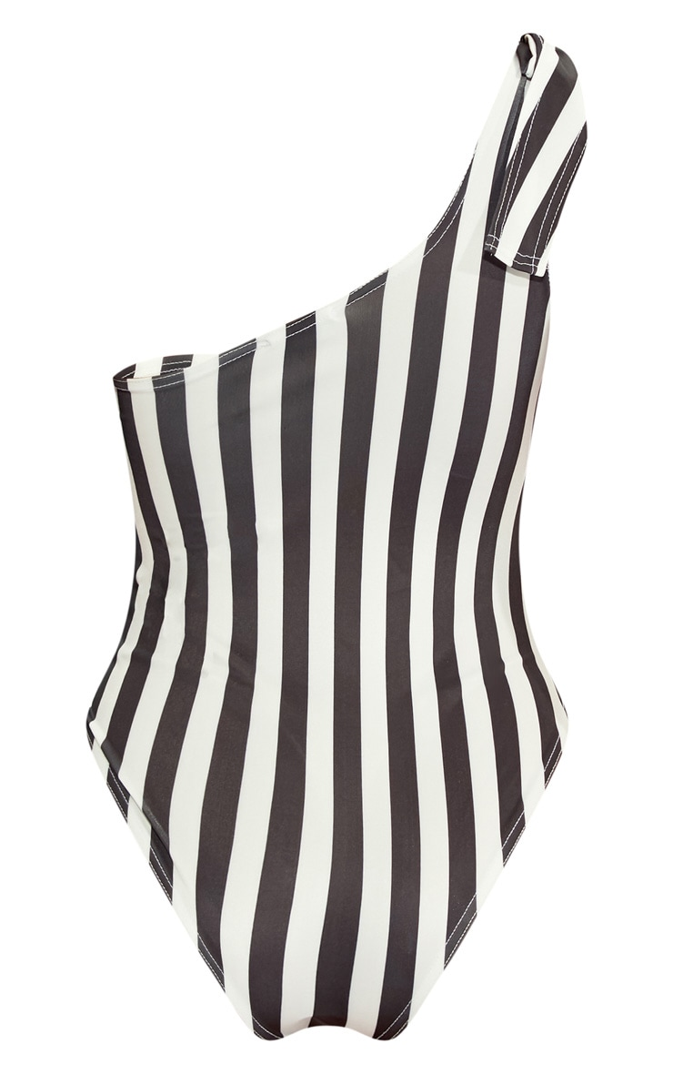 Black/White Striped Tie Shoulder Swimsuit  4