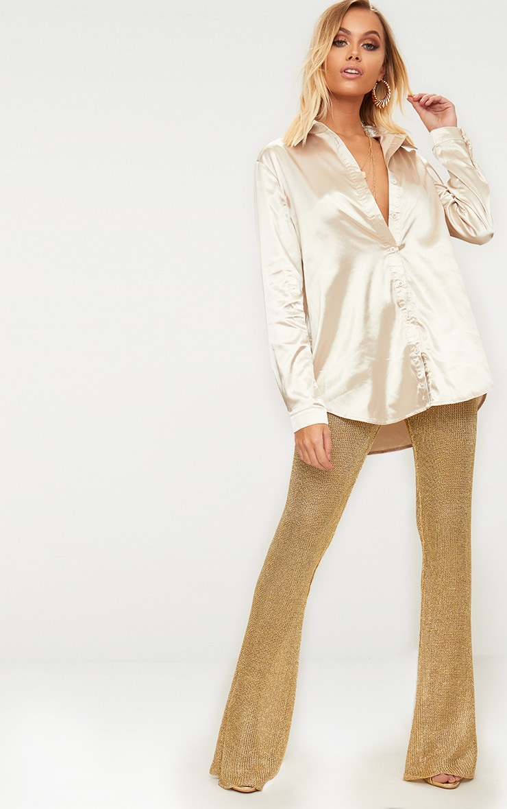 Champagne Satin Button Front Shirt  4