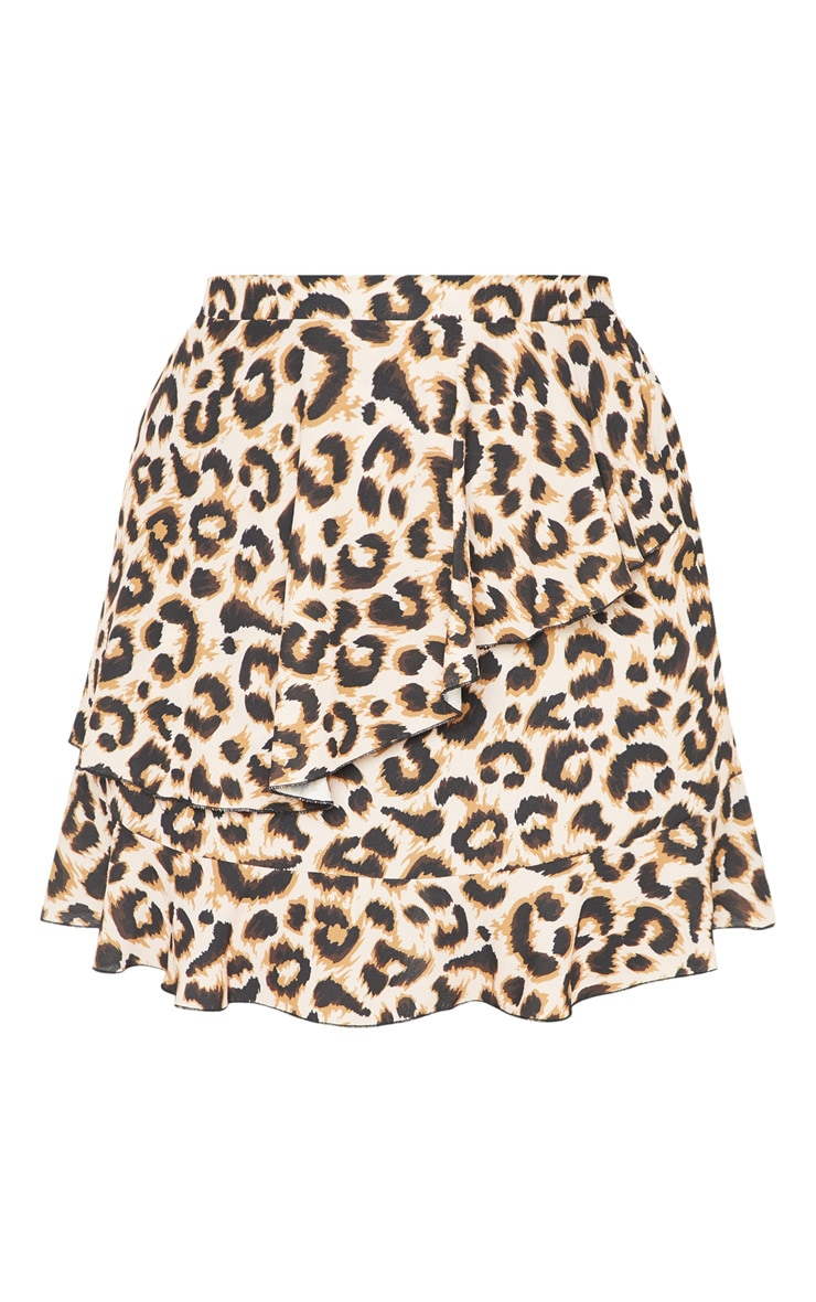 Plus Brown Leopard Print Frill Detail Mini Skirt  3