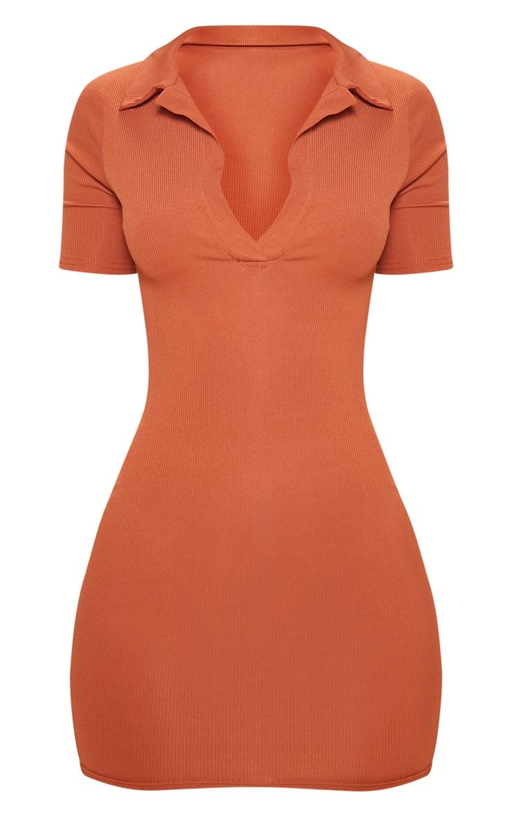 Rust Ribbed Polo Bodycon Dress 3