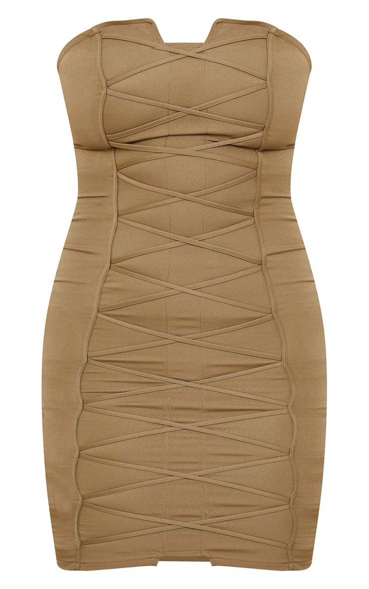 Tall Olive Bandeau Woven Corset Detail Bodycon Dress  5