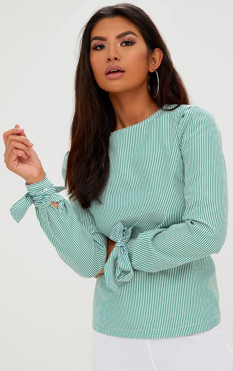 Green Stripe Corset Back Tie Sleeve Shirt 2