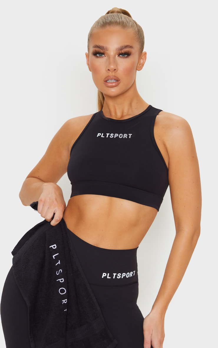 PRETTYLITTLETHING Black Sculpt Luxe Racer Neck Sports Top image 1