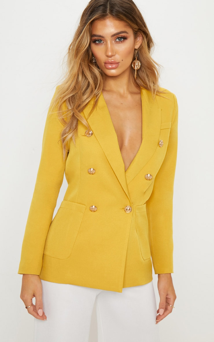 Yellow Double Breasted Military Blazer 1