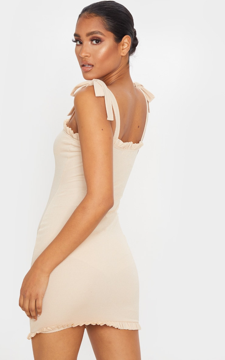 Taupe Tie Shoulder Frill Detail Bodycon Dress 2