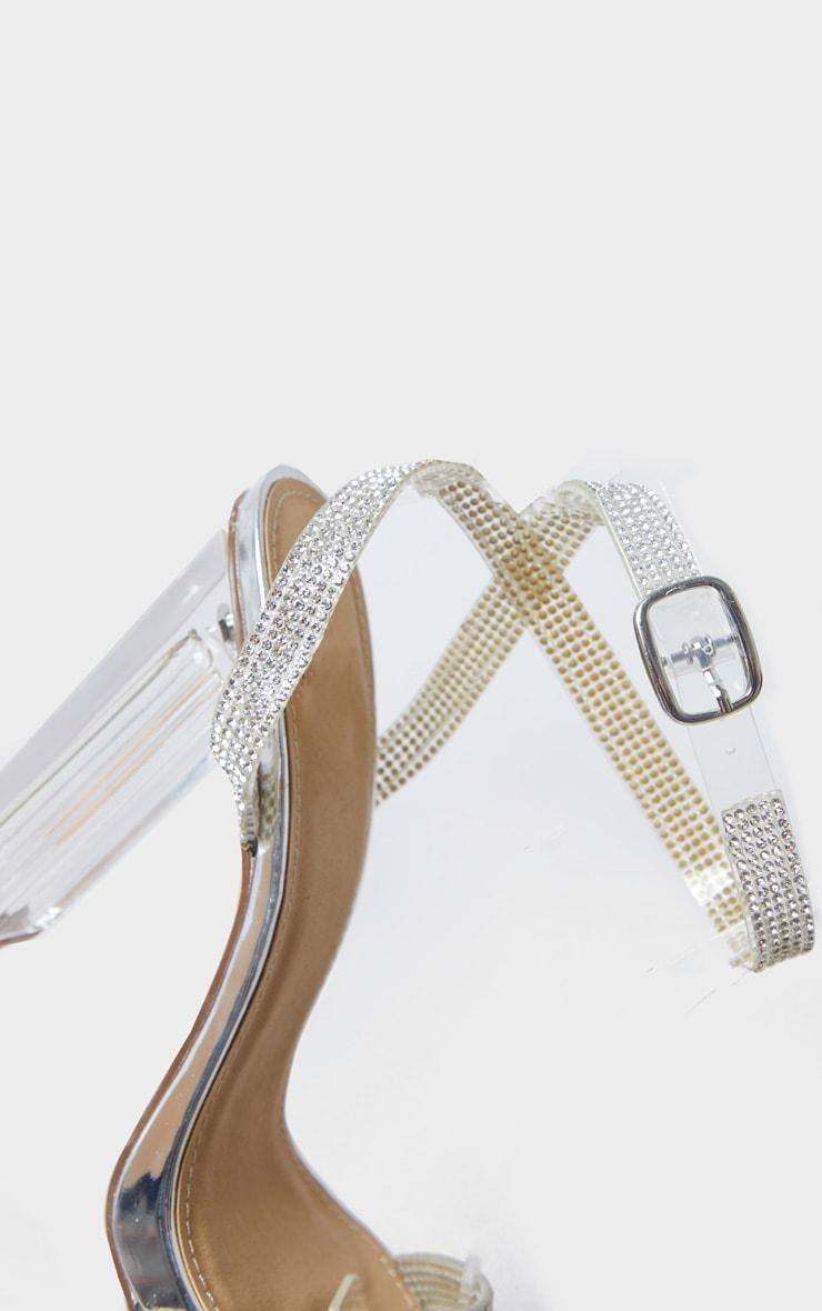 Silver Diamante Strap Clear Block Heel 4